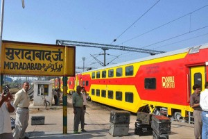 Moradabad: Lucknow-Anand Vihar double-decker train reached at Moradabad junction during its final safety trial run between Lucknow Junction and Anand Vihar terminal on Friday. PTI Photo (PTI10_17_2014_000166B)